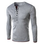 Buy Single-Breasted Color Spliced Slimming Round Neck Long Sleeves Men's Faux Twinset T-Shirt 2XL
