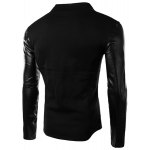 cheap PU Leather Personality Spliced Hit Color Patch Pocket Stand Collar Long Sleeves Men's Slimming Sweatshirt