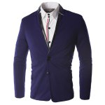 Buy Hit Color PU Leather Spliced Patch Pocket Side Slit Stand Collar Long Sleeves Men's Slimming Blazer M