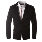 Buy Hit Color PU Leather Spliced Patch Pocket Side Slit Stand Collar Long Sleeves Men's Slimming Blazer XL