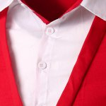 cheap Classic Faux Twinset Color Block Slimming Shirt Collar Long Sleeves Men's Casual T-Shirt
