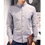 Buy Slimming Shirt Collar Stripes Spliced Long Sleeve Men's Button-Down M