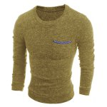 cheap Round Neck Solid Color Edging Pocket Long Sleeve Men's Sweater