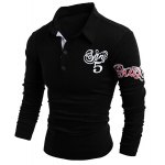 cheap Turn-Down Collar Letter and Horse Printed Long Sleeve Buttons Men's Polo T-Shirt