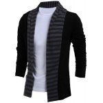 cheap Turn-Down Collar Color Block Splicing Stripe Long Sleeve Men's Cardigan