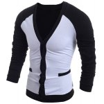 cheap V-Neck Color Block Splicing Single-Breasted Long Sleeve Men's Cardigan