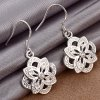 Trendy Floral Shape Zircon Design Silver Plated Ladies Drop Earrings for sale