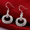 Pair of Silvered Plated Round Shape Hollow Out Drop Earrings for sale