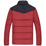 cheap Flocking Stand Collar Splicing Design Long Sleeve Thicken Men's Cotton-Padded Jacket