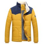 Buy Flocking Stand Collar Splicing Design Long Sleeve Badge Men's Cotton-Padded Jacket M
