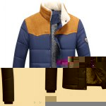 Buy Flocking Stand Collar Splicing Design Long Sleeve Badge Men's Cotton-Padded Jacket 3XL
