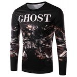 Round Neck 3D Ship and Letter Print Long Sleeve Men's T-Shirt