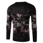 cheap Round Neck 3D Ship and Letter Print Long Sleeve Men's T-Shirt