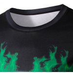 Round Neck 3D Green Lantern Logo Print Long Sleeve Men's T-Shirt deal