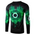 cheap Round Neck 3D Green Lantern Logo Print Long Sleeve Men's T-Shirt
