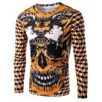 Round Neck 3D Geometric and Skull Print Long Sleeve Men's T-Shirt