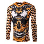 cheap Round Neck 3D Geometric and Skull Print Long Sleeve Men's T-Shirt