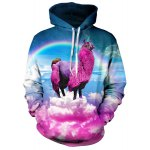 Buy 3D Animal Unicorn Rainbow Print Front Pocket Loose Fit Drawstring Hooded Long Sleeves Men's Hoodie M COLORMIX