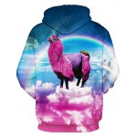 cheap 3D Animal Unicorn Rainbow Print Front Pocket Loose Fit Drawstring Hooded Long Sleeves Men's Hoodie