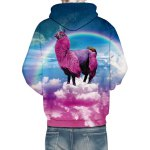 3D Animal Unicorn Rainbow Print Front Pocket Loose Fit Drawstring Hooded Long Sleeves Men's Hoodie for sale