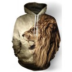 Buy Cool 3D Lion Print Front Pocket Rib Hem Loose Fit Drawstring Hooded Long Sleeves Men's Hoodie M COLORMIX