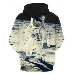cheap Vogue Loose Fit Drawstring Hooded 3D Astronauts On Space Print Front Pocket Men's Long Sleeves Hoodie