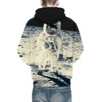 Vogue Loose Fit Drawstring Hooded 3D Astronauts On Space Print Front Pocket Men's Long Sleeves Hoodie for sale