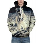 Vogue Loose Fit Drawstring Hooded 3D Astronauts On Space Print Front Pocket Men's Long Sleeves Hoodie deal