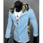 Buy Vogue Camo Spliced Patch Pocket Color Block Slimming Hooded Long Sleeves Men's Denim Jacket 2XL LIGHT BLUE