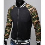 Buy Modern Style Stand Collar Striped Rib Spliced Camo Long Sleeves Men's Slimming Jacket 2XL