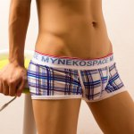 cheap Elastic Waist Letter Print Comfortable Checked Men's Boxer Brief