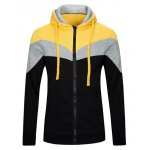 Buy Classic Color Lump Splicing Front Pocket Slimming Drawstring Hooded Long Sleeves Men's Hoodie 2XL
