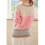 Sweet Scoop Neck Long Sleeve Bowknot and Heart Pattern Sweater For Women for sale