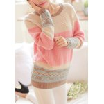 Sweet Scoop Neck Long Sleeve Bowknot and Heart Pattern Sweater For Women deal
