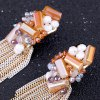 Pair of Classic Faux Crystal Chain Tassel Earrings For Women photo