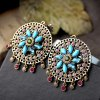 Pair of Bohemian Style Faux Crystal Floral Earrings For Women deal