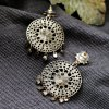 Pair of Bohemian Faux Crystal Floral Earrings photo