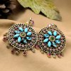 best Pair of Bohemian Style Faux Crystal Floral Earrings For Women