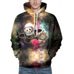 3D Colorful Funny Space Cat Print Front Pocket Drawstring Hooded Long Sleeves Men's Loose Fit Hoodie deal
