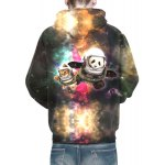 3D Colorful Funny Space Cat Print Front Pocket Drawstring Hooded Long Sleeves Men's Loose Fit Hoodie for sale