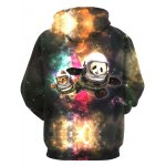 cheap 3D Colorful Funny Space Cat Print Front Pocket Drawstring Hooded Long Sleeves Men's Loose Fit Hoodie