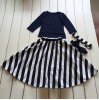 Fashionable Long Sleeve T-Shirt + Maxi Striped Color Block Skirt Twinset For Girl