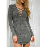 Stylish Plunging Neck Criss-Cross Long Sleeve Sweater Dress For Women deal