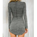 Stylish Plunging Neck Criss-Cross Long Sleeve Sweater Dress For Women for sale