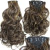 cheap Assorted Color Long Clip-In Synthetic Charming Fluffy Curly Hair Extension Suit For Women
