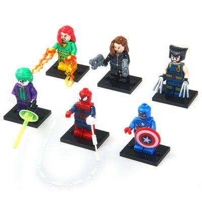 DECOOL Tiny Building Block Super Heroes for Children 6Pcs / SetMovies &amp; TV  Dolls<br>DECOOL Tiny Building Block Super Heroes for Children 6Pcs / Set<br><br>Type: Building Blocks<br>Age: 6 Years+<br>Material: Plastic<br>Design Style: Figure Statue<br>Features: Educational<br>Puzzle Style: 3D Puzzle<br>Small Parts : Yes<br>Washing : Yes<br>Applicable gender: Unisex<br>Package Weight   : 0.35 kg<br>Package Size (L x W x H)  : 27 x 5 x 26 cm / 10.61 x 1.97 x 10.22 inches<br>Package Contents: 6 x Super Hero