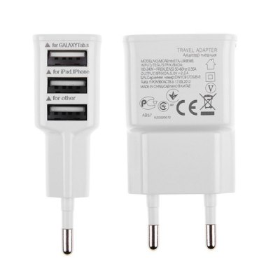 3 USB Ports EU Plug AC Charger Power Adaptor 2 PCSiPhone Cables &amp; Adapters<br>3 USB Ports EU Plug AC Charger Power Adaptor 2 PCS<br><br>Color: White<br>Features: ALL-in-1<br>Input: 100 - 240V / 0.35A<br>Mainly Compatible with: Samsung S6, Universal, iPod, Ipad Mini, Ipad 4, The New Ipad, Ipad 2, iPhone 6, iPhone 6 Plus, iPhone 6S, iPhone 4/4S, iPhone 5C, iPhone 5S, iPhone 6S Plus, iPad Air (iPad 5), Devices that support recharging via USB, iPhone 5, iPhone 4S, Lumia 830, Zenfone, Z3 Compact, Xperia Z3, Blackberry, Nokia, HTC, SAMSUNG, Lumia 730, Mate 7, D7, Moto X+1, G2, GALAXY Mega2, Galaxy Note 4, Samsung Note 5, iPhone 4, Samsung Galaxy S6 Edge Plus, HTC One M9<br>Material: ABS<br>Output: 5V / 2A<br>Package Contents: 2 ? Power Adapter<br>Package size (L x W x H): 16 x 8.5 x 16 cm / 6.29 x 3.34 x 6.29 inches<br>Package weight: 0.095 kg<br>Plug: EU plug<br>Product size (L x W x H): 7 x 3.8 x 2.2 cm / 2.75 x 1.49 x 0.86 inches<br>Product weight: 0.063 kg<br>Type: Adapters