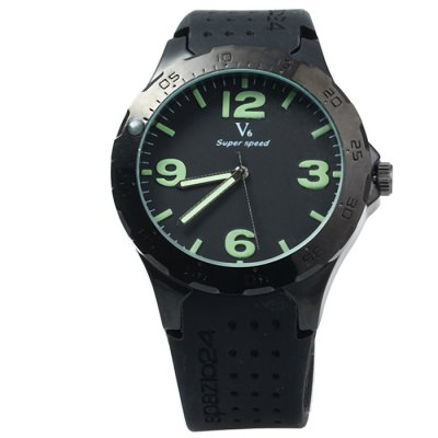 V6 V0231 Luminous Pointers Men Quartz Watch with Rubber BandMens Watches<br>V6 V0231 Luminous Pointers Men Quartz Watch with Rubber Band<br><br>Brand: V6<br>Watches categories: Male table<br>Watch style: Trends in outdoor sports<br>Available color: Black, White<br>Movement type: Quartz watch<br>Shape of the dial: Round<br>Display type: Analog<br>Case material: Stainless steel<br>Band material: Rubber<br>Clasp type: Pin buckle<br>Special features: Luminous<br>The dial thickness: 1.0 cm / 0.39 inches<br>The dial diameter: 4.5 cm / 1.77 inches<br>The band width: 2.1 cm / 0.83 inches<br>Wearable length: 17.5 - 22 cm / 6.89 - 8.66 inches<br>Product weight: 0.068 kg<br>Package weight: 0.118 kg<br>Product size (L x W x H): 25 x 4.5 x 1 cm / 9.83 x 1.77 x 0.39 inches<br>Package size (L x W x H): 26 x 5.5 x 2 cm / 10.22 x 2.16 x 0.79 inches<br>Package contents: 1 x V6 V0231 Watch