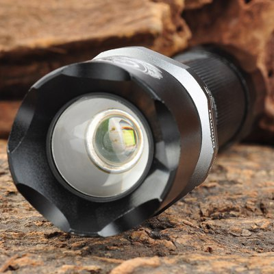 Wolf Eyes Cree XRE Q5 340Lm Rechargeable LED FlashlightLED Flashlights<br>Wolf Eyes Cree XRE Q5 340Lm Rechargeable LED Flashlight<br><br>Brand: Wolf Eyes<br>Lamp Beads: Cree XRE Q5<br>Beads Number: 1<br>Luminous Flux: 340Lm<br>Switch Type: Clicky<br>Switch Location: Tail Cap<br>Function: Hunting, Household Use, EDC, Camping, Law Enforcement, Hiking, Walking<br>Battery Type: 18650<br>Battery Quantity: 1 (not included)<br>Mode: 3 (High &gt; Low &gt; Strobe)<br>Zooming: Yes<br>Power Source: Battery<br>Working Voltage: 3.6 - 4.2V<br>Reflector: No<br>Lens: Optical Lens<br>Beam Distance: 100-200m<br>Body Material: Aluminium Alloy<br>Available Light Color: Cool White<br>Available Color: Black<br>Product weight: 0.172 kg<br>Package weight: 0.23 kg<br>Product size (L x W x H): 15.8 x 3.8 x 3.8 cm / 6.21 x 1.49 x 1.49 inches<br>Package size (L x W x H): 17 x 5 x 5 cm / 6.68 x 1.97 x 1.97 inches<br>Package Contents: 1 x Wolf Eyes LED Flashlight, 1 x Lanyard