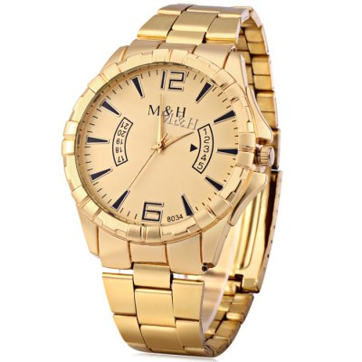 MH 8034 Male Quartz Watch with Golden Case